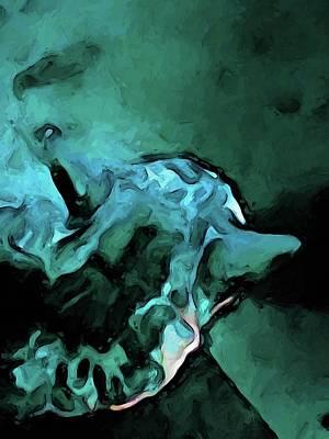 Digital Art - Dissolving Turquoise Cat by Jackie VanO