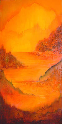Sunrise Seascape Painting - Distance by Shadia Derbyshire