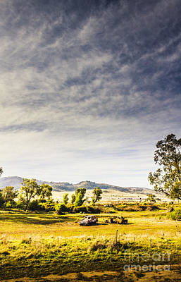 Distant Car Wrecks On Outback Australian Land  Art Print