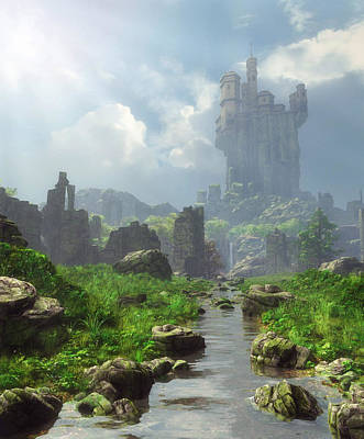 Tower Digital Art - Distant Castle by Cynthia Decker