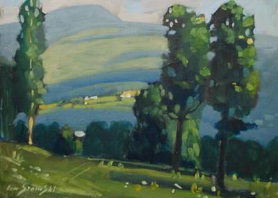 Berkshire Hills Living Painting - Distant Farm by Len Stomski