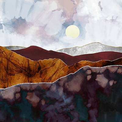 Abstract Landscape Digital Art - Distant Light by Katherine Smit