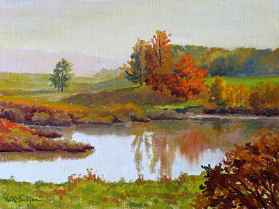 Branch Hill Pond Painting - Distant Maples by Keith Burgess