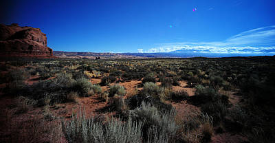 Photograph - Distant Mountains Arches National Park by Lawrence Christopher