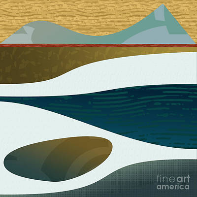Abstract Shapes Drawing - Distant Pools by CR Leyland