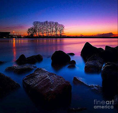 Distant Shores At Night Art Print by Rod Jellison