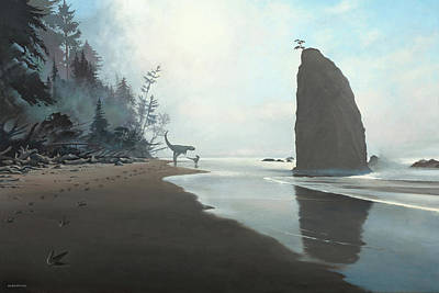 Driftwood Beach Fog Wall Art - Painting - Distant Shores by Cliff Wassmann