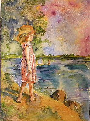 Art Print featuring the painting Distant Shores by P Maure Bausch