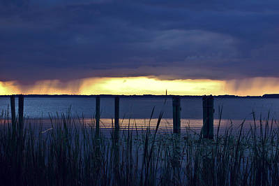 Shower Digital Art - Distant Storms At Sunset by DigiArt Diaries by Vicky B Fuller