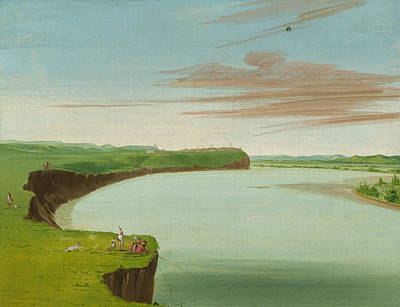 Distant Painting - Distant View Of The Mandan Village by George Catlin