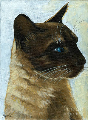 Painting - Distinctly Siamese - Cat Portrait Oil Painting by Linda Apple