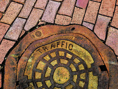 Digital Art - Distorted Manhole Cover  by Sandra Church