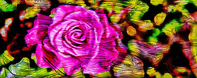Pink Flower Digital Art - Distorted Romance by Az Jackson