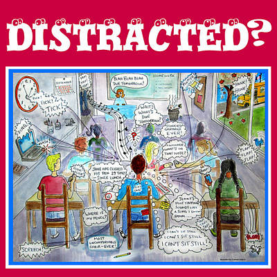 Distracted -adhd Poster Art Print by Carmen Suter