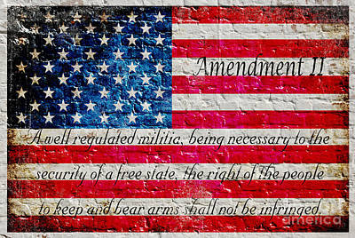 Distressed American Flag And Second Amendment On White Bricks Wall Art Print
