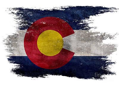 Colorado Flag Photograph - Distressed Colorado Flag by Jon Neidert