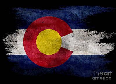 Colorado Flag Photograph - Distressed Colorado Flag On Black by Jon Neidert