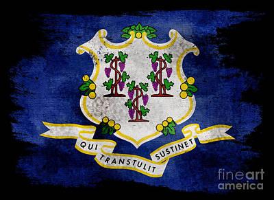 Distressed Connecticut Flag On Black Art Print by Jon Neidert