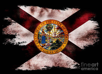 Distressed Florida Flag On Black Print by Jon Neidert