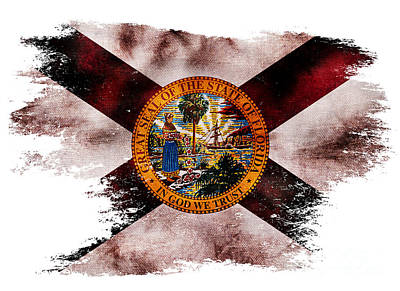 Distressed Florida Flag Print by Jon Neidert
