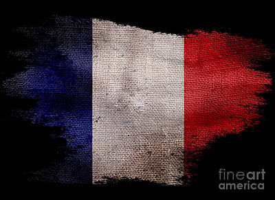 Distressed French Flag On Black Art Print by Jon Neidert