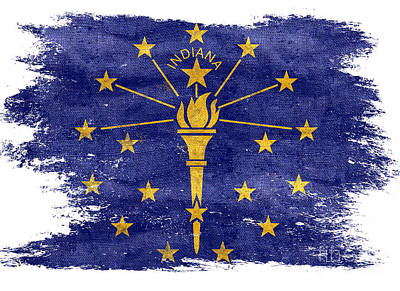 Distressed Indiana Flag Art Print