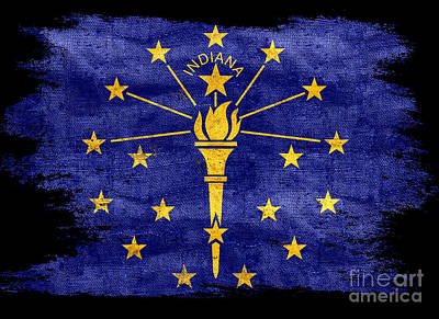 Distressed Indiana Flag On Black Art Print