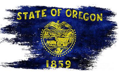 Oregon State Photograph - Distressed Oregon Flag by Jon Neidert