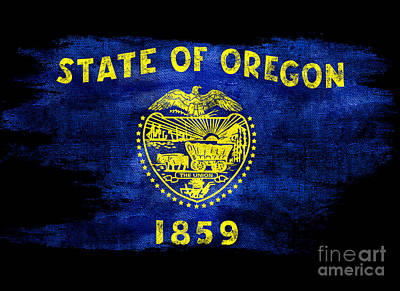 Oregon State Photograph - Distressed Oregon Flag On Black by Jon Neidert