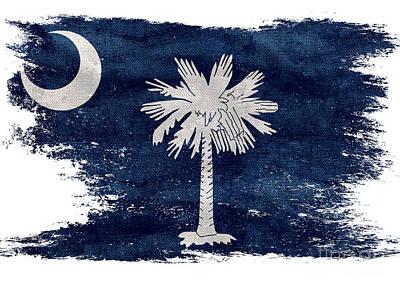 Old South Photograph - Distressed South Carolina  Flag by Jon Neidert