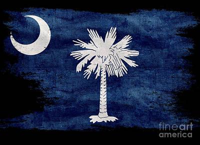 Old South Photograph - Distressed South Carolina  Flag On Black by Jon Neidert