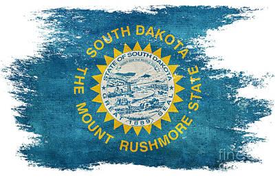 Old South Photograph - Distressed South Dakota Flag by Jon Neidert