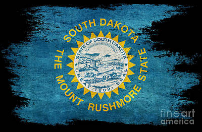 Old South Photograph - Distressed South Dakota Flag On Black by Jon Neidert