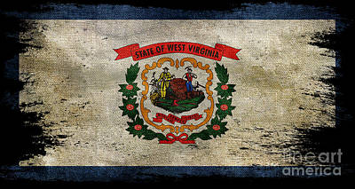 Old West Photograph - Distressed West Virginia Flag On Black by Jon Neidert