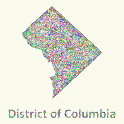 Washington Drawing - District Of Columbia Line Art Map by David Zydd