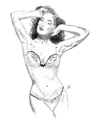 Dita Von Teese Drawing - Dita by Joshua K Hall