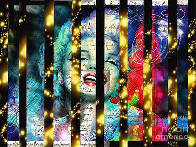 Woman.abstract Painting - Diva A Star In Stripes by Theo Danella