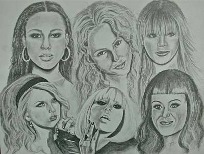 Shakira Drawing - Divas Now by Sandra Valentini
