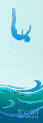 Aquatic Digital Art - Dive by Bedros Awak