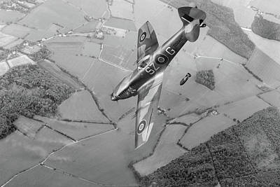 Photograph - Dive Bombing Spitfire Bw Version by Gary Eason