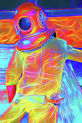 Diver Glowing Art Print by Charles Haaland