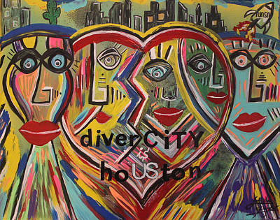 Mixed Media - diverCITY is hoUSton by Artista Elisabet