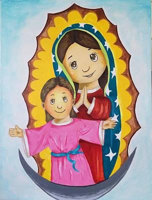 Divine Child And Mary Original by Jorge Diez