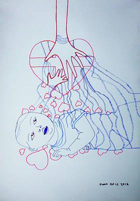 Drawing - Divine Feelings - Love - Motherhood by Gloria Ssali