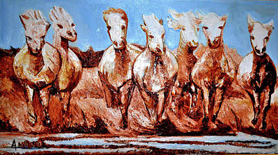 Painting - Divine Horses by Anand Swaroop Manchiraju