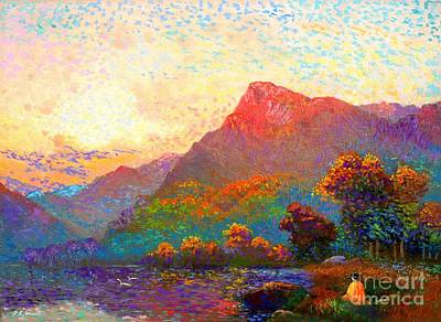 Colorful Landscape Painting -  Buddha Meditation, Divine Light by Jane Small
