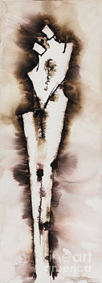 Sepia Ink Painting - Divine Love Series No. 2042 by Ilisa Millermoon