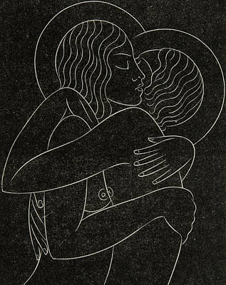 Nipple Drawing - Divine Lovers by Eric Gill
