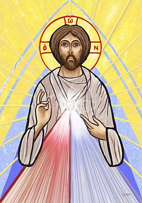 Painting - Divine Mercy Icon Style by Dave Luebbert