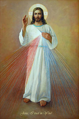 Bible Wall Art - Painting - Divine Mercy - Jesus I Trust In You by Svitozar Nenyuk